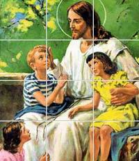 Slide puzzle of Jesus blessing the little children