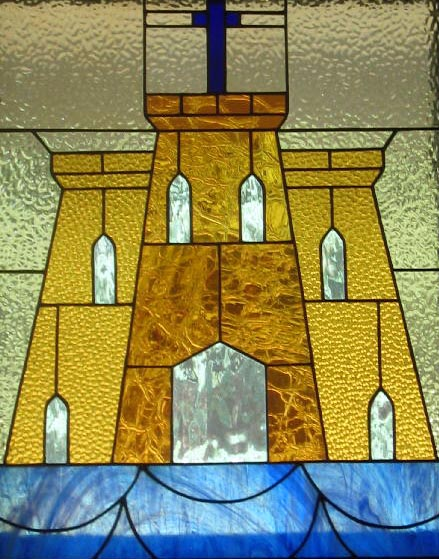 Stained glass--Fortress and cross