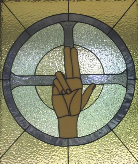 Stained glass--Hand of God